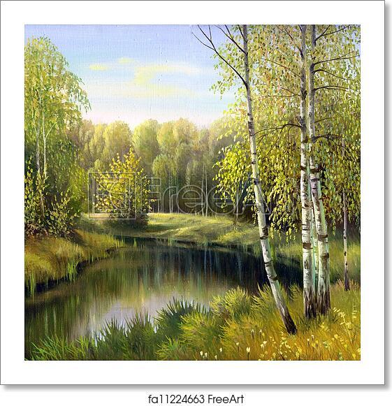 Free Art Print Of Autumn Landscape, Canvas, Oil