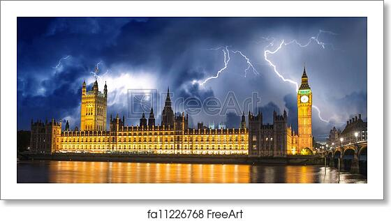 Free Art Print Of Storm Over Big Ben And House Of Parliament