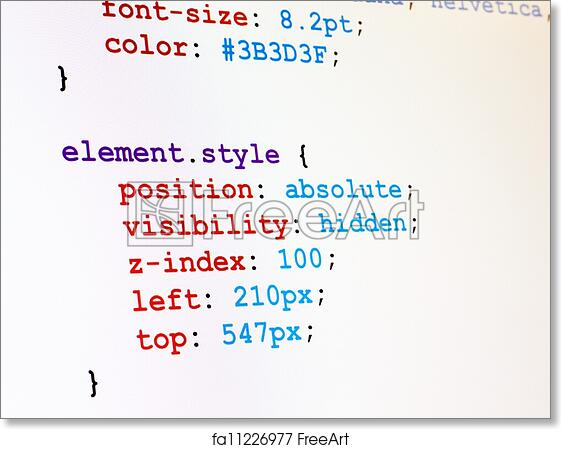 Free Art Print Of CSS Code Monitor Screenshot