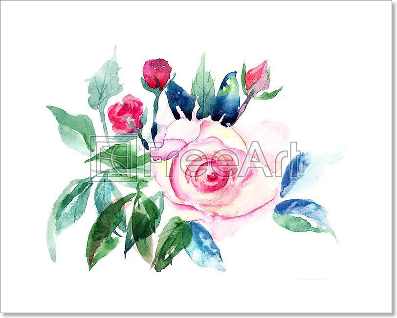 Decorative Roses Flowers Watercolor Art Print Home Decor Wall Art Poster D Ebay