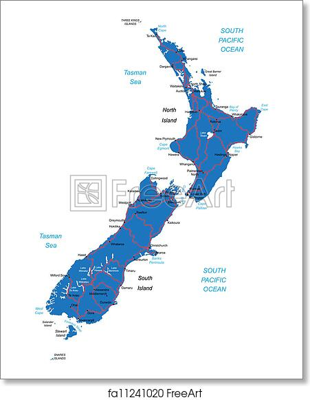 New Zealand Map Print.Free Art Print Of New Zealand Map
