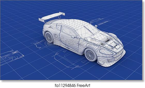Free art print of blueprint race car blueprint race car part of a free art print of blueprint race car malvernweather Choice Image