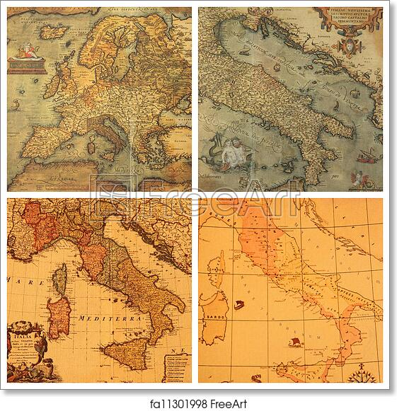 Free art print of Ancient maps collection. Collage with images of ...