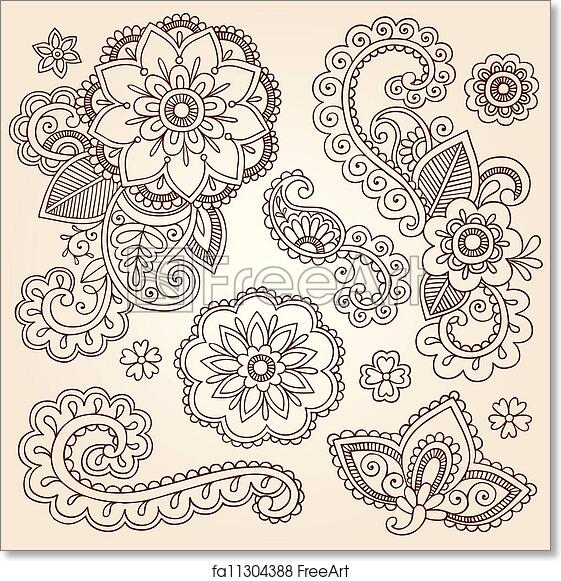 Free art print of Henna Mehndi Paisley Flower Doodles. Henna Paisley ...