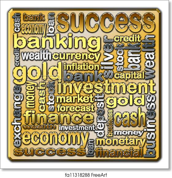 Free art print of Cloud of words describing the finance and banking