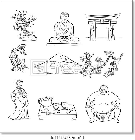 Free Art Print Of Symbols Of Japanese Culture Beautiful Set Of