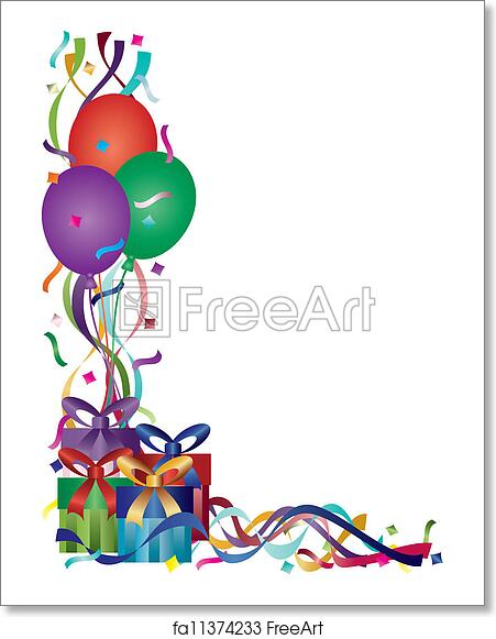 free art print of birthday presents with ribbons and confetti