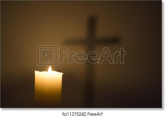 Free Art Print Of Candle And The Cross A Shadow Of A Cross Seen In