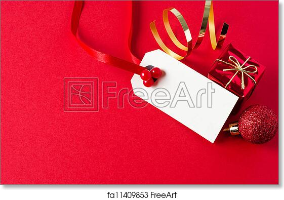 free art print of christmas gift tag with ornaments - Decorative Christmas Gift Tags