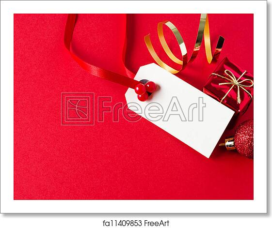 Christmas Gift Tag.Free Art Print Of Christmas Gift Tag With Ornaments