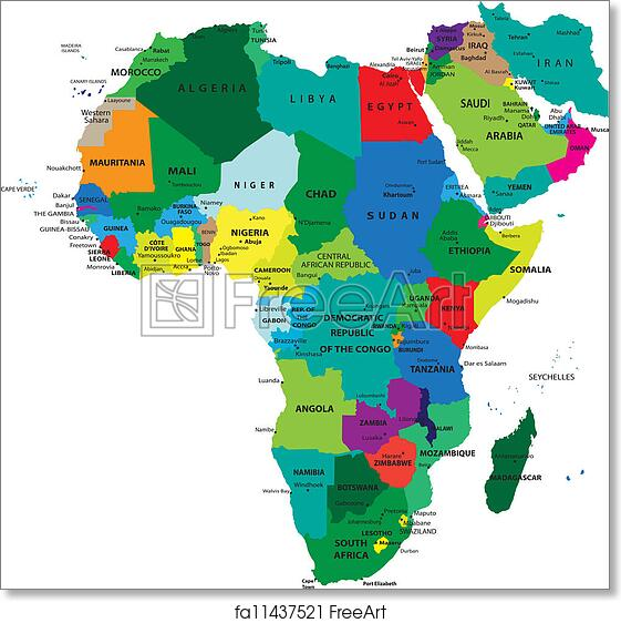 Free Art Print Of Political Map Of Africa Political Map Of Africa