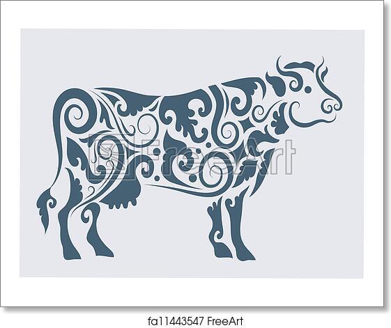 Free art print of Cow tribal design vector