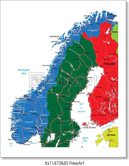 Free art print of Norway map. Highly detailed vector map of Norway ...