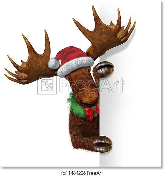 free art print of christmas moose blank sign christmas holiday northern moose with huge antlers holding a blank white sign wearing a santacluse hat and a - Christmas Moose
