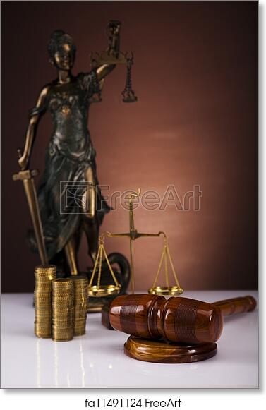 Free art print of Lady of justice, coins and gavel