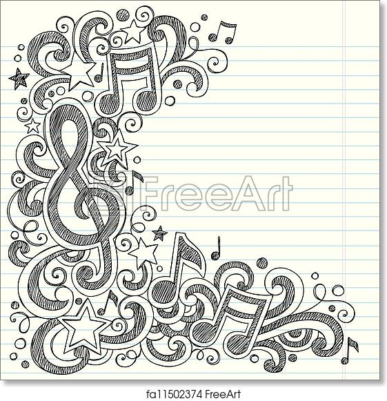 Free art print of Music Doodle Vector Page Border