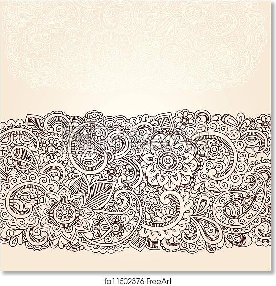 Free Art Print Of Henna Paisley Flowers Border Design Henna Flowers