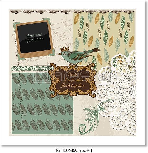 Free Art Print Of Scrapbook Design Elements Vintage Bird Feathers
