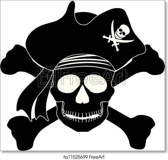 photo about Printable Pirate Hat titled No cost artwork print of Pirate Skull Black White Instance