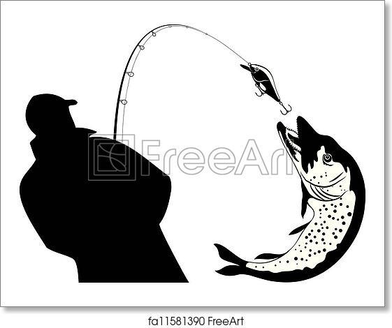 Free art print of Fishing, fisherman and pike, vector. Fishing ...