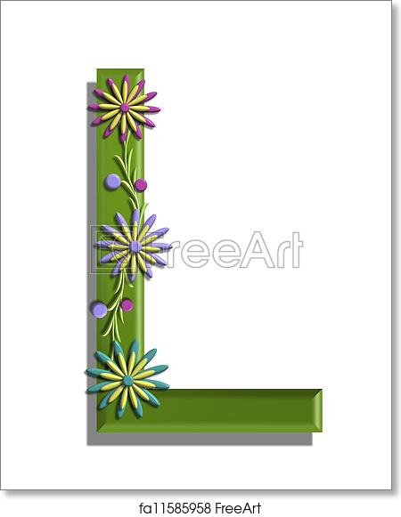 photo relating to Printable L&m Cigarette Coupons named No cost artwork print of Alphabet 3D Blooming Vine L