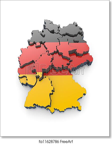 Map Of Germany 3d.Free Art Print Of Map Of Germany In German Flag Colors Map Of
