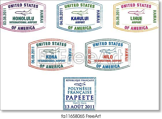 graphic relating to Printable Passport Stamps for Kids titled No cost artwork print of Pport Stamps