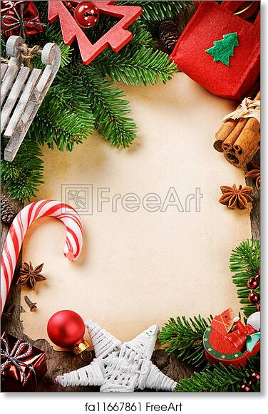 Free Art Print Of Frame With Christmas Tree Branches And Vintage