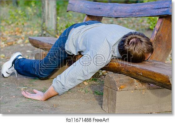 Free Art Print Of Drunk Man Sleeping In Park Drunk Man Sleeping In