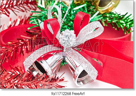 Free art print of Christmas silver bells ornaments.   FreeArt   fa11712268