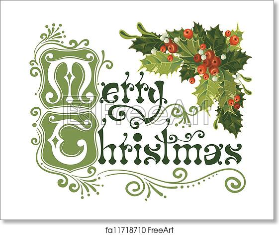 Merry Christmas Card.Free Art Print Of Merry Christmas Card