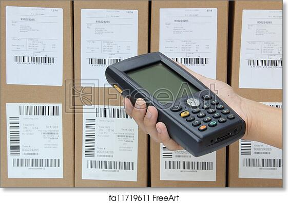 Free art print of Scanning boxes with barcode scanner