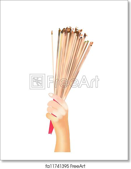 Free art print of Hands Clutching Lit Incense Sticks for Praying Homage