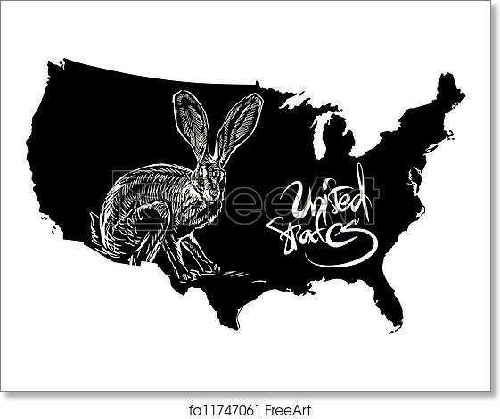 Free art print of Black-tailed jackrabbit and U. S. outline map ...
