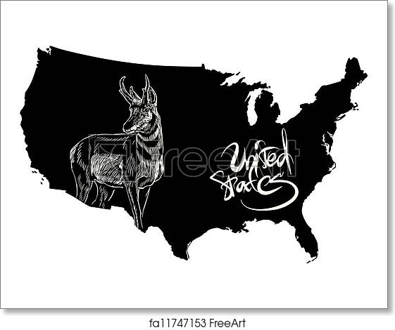 Free art print of Pronghorn and U. S. outline map