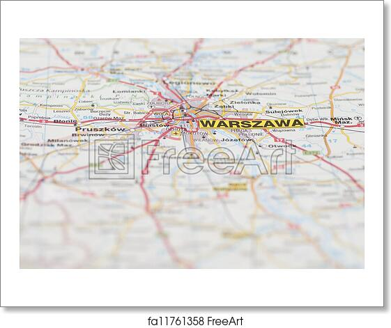 Free art print of Map of Warsaw City. Macro images of Warsaw ...