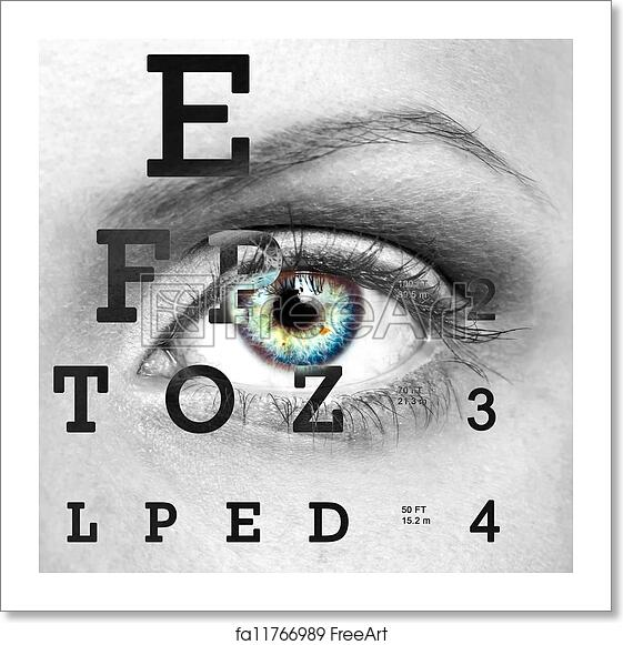 Free Art Print Of Eye With Test Vision Chart Eye With Test Vision