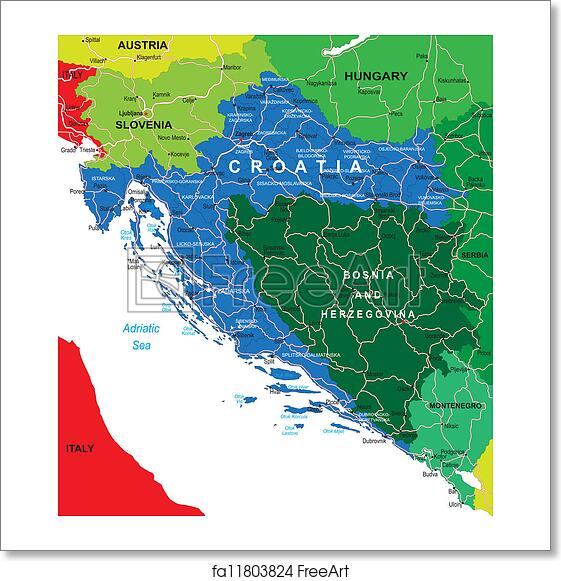 Free Art Print Of Croatia Map