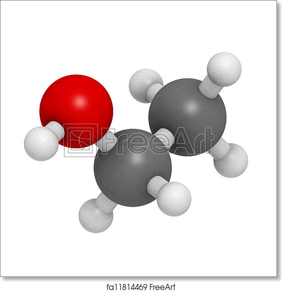 Free art print of Ethanol (EtOH, alcohol) molecule, chemical structure
