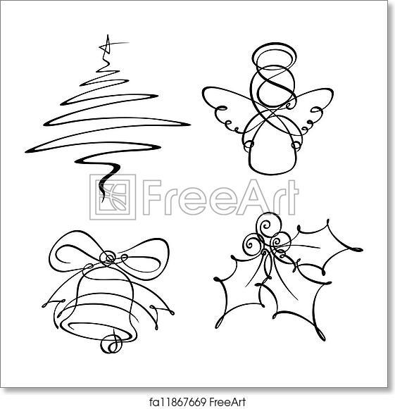 Christmas Tree Icons.Free Art Print Of Four Christmas Single Line Icons