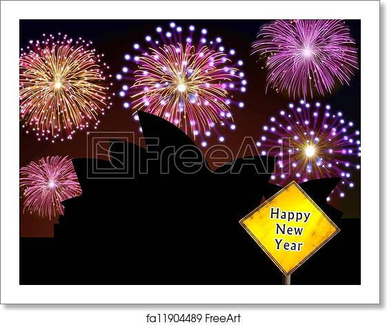free art print of australia fireworks happy new year