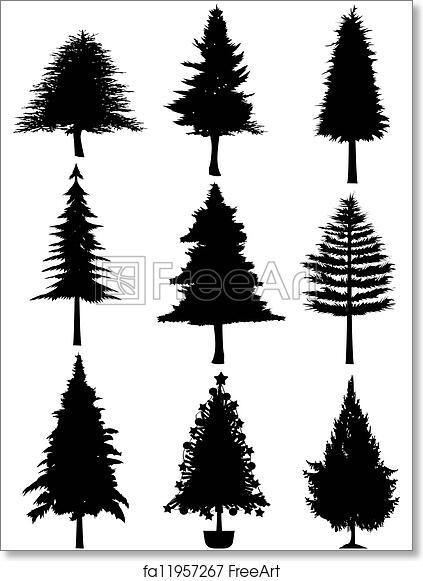 free art print of christmas tree silhouette isolated christmas tree silhouette on white background freeart fa11957267 free art print of christmas tree silhouette