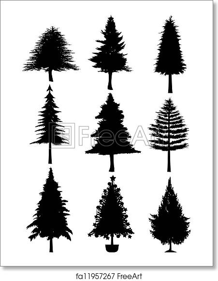 Christmas Tree White Background.Free Art Print Of Christmas Tree Silhouette