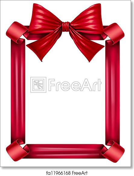 Free Art Print Of Red Ribbon And Bow Frame Red Silk Ribbon And Bow