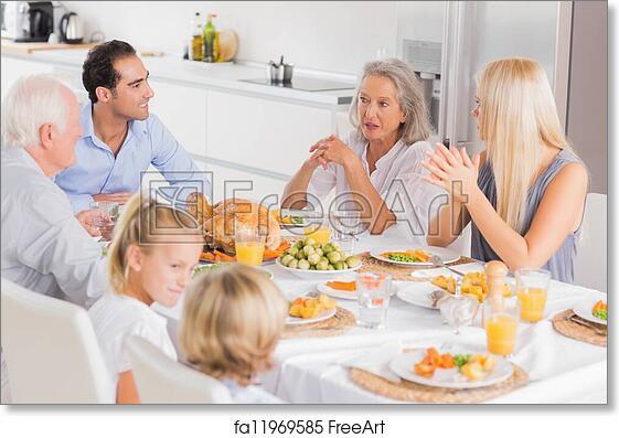 Free Art Print Of Family Enjoying The Thanksgiving Dinner Family