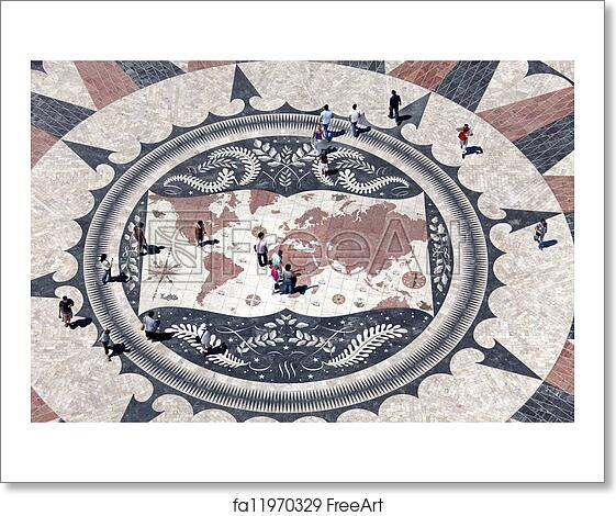Free Art Print Of Huge Compass Rose In Lisbon With World Map Showing