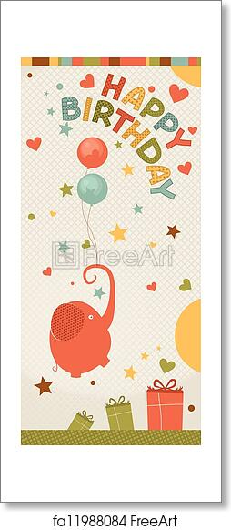 Excellent Free Art Print Of Cute Happy Birthday Card With Elephant Birthday Funny Birthday Cards Online Overcheapnameinfo