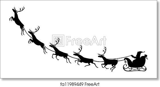 Free Art Print Of Santa Claus Riding On A Reindeer Sleigh Silhouette Of Santa Claus Sitting In A Sleigh Reindeer Who Pull Freeart Fa11989449