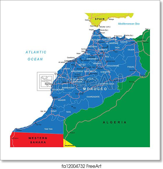 Free art print of Morocco map. Highly detailed vector map of Morocco ...