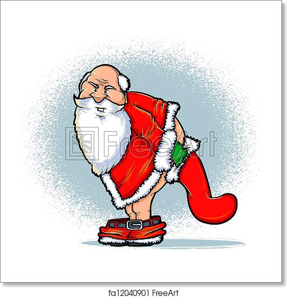 Christmas Stockings Cartoon.Free Art Print Of Santa And The Naughty List Cartoon